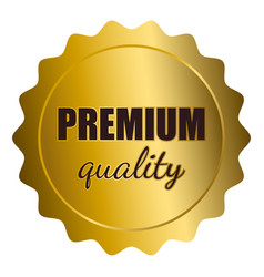 Golden seal with premium quality text vector