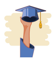 graduation card with hat icon vector image