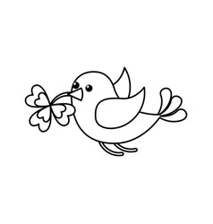 Green bird flying with clover in beak vector