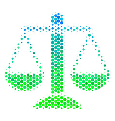 Halftone blue-green weight scales icon vector