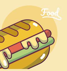 hamburger fast food concept cartoon vector image