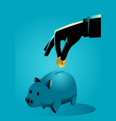 Hand inserting a gold coin into a piggy bank vector