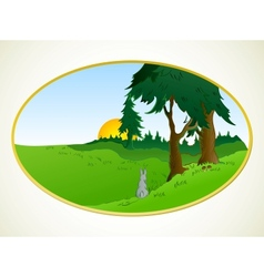 Hares in the wonderland background vector