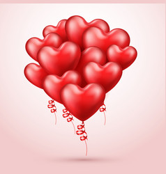 Heart shaped balloons realistic red 3d balloons vector
