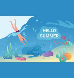 Hello summer concept with swimmer in underwater vector