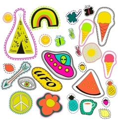 Hippie embroidery neon hand drawn patches vector