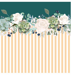 horizontal striped pattern with white roses leave vector image