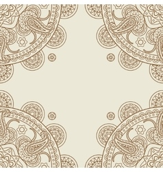 Indian paisley boho floral corners frame vector