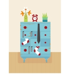 interior old blue dresser vector image