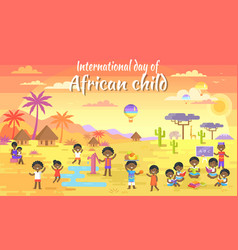 international day of african child big banner vector image
