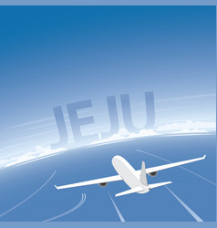 Jeju skyline flight destination vector