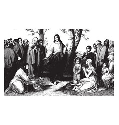 jesus preaching consider the lilies of the field vector image