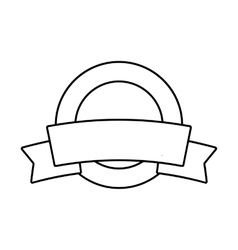 Label with ribbon line icon vector
