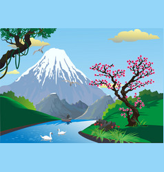 Landscape - sakura on the river bank mount fuji vector