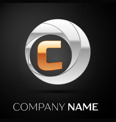 Letter c logo symbol in the golden-silver circle vector