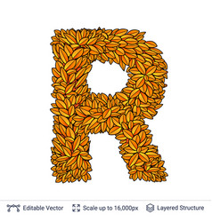 Letter r sign of autumn leaves vector