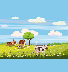 Lovely country rural landscape cow grazing farm vector