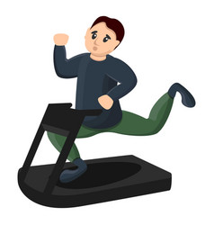 Man at treadmill icon cartoon style vector