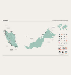Map malaysia country map with division cities vector