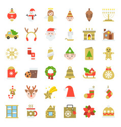 Merry christmas icon set 5 flat style vector