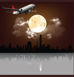 moon over city with passenger plane vector image