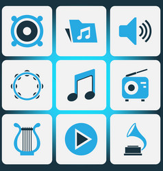 Multimedia colored icons set collection of harp vector