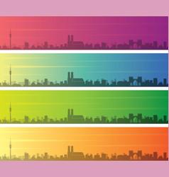 Munich multiple color gradient skyline banner vector