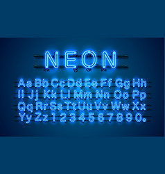 Neon city color blue font english alphabet and vector