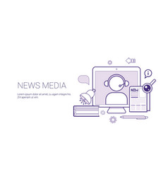 news media and press concept banner with copy vector image
