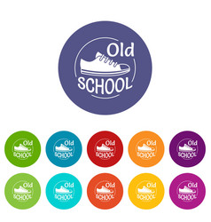 old school icons set color vector image