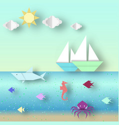 Origami landscape vector