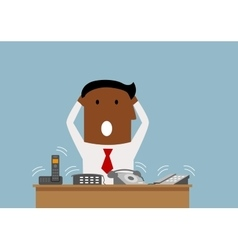 Overworked businessman with many phone calls vector