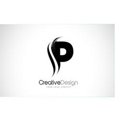 P letter design brush paint stroke vector