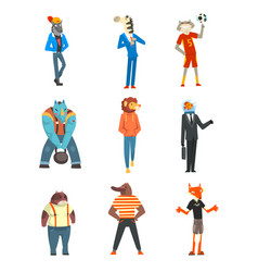 People with animal heads set wolf zebra cat vector