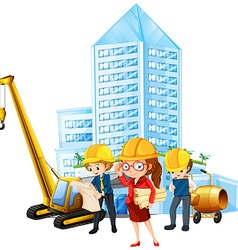 People working on construction site vector image