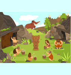 Primitive people prehistoric cartoon vector