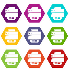 printer icons set 9 vector image