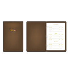 realistic detailed 3d menu book set vector image