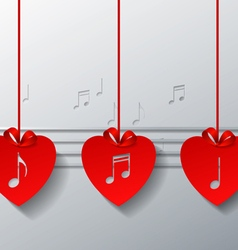 Red Love Music Concept Design vector image