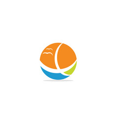 round beach nature colored logo vector image