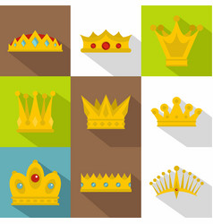 Royal crown icon set flat style vector