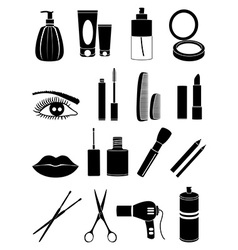 salon makeup icons set vector image