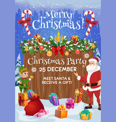 santa and elf with christmas gift xmas party card vector image