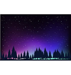 Scene with pine trees at night vector image