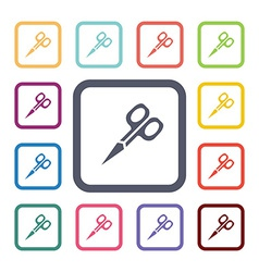 scissors flat icons set vector image