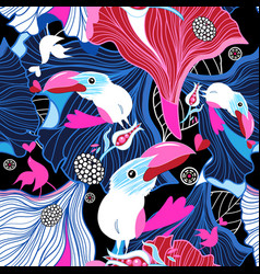 seamless festive pattern birds in love vector image
