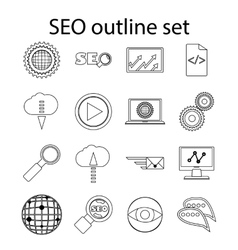 SEO icons set in outline style vector image