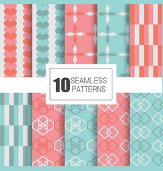 Set 10 seamless patterns with geometry design vector