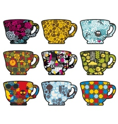 Set of cute tea cups with patterns vector image
