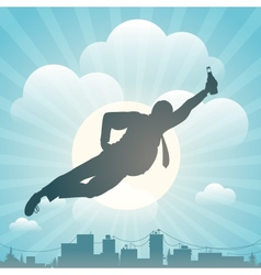 Silhouette of the man flying above city vector